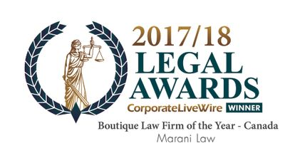 Marani Law Winner of Boutique Law Firm of the Year Canada 2017 2018